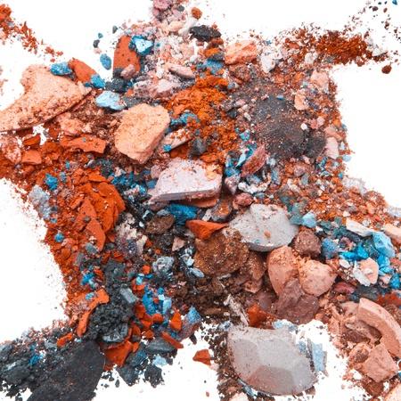 mixed crushed eyeshadows isolated on white background Stock Photo - 12413154