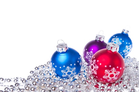 chain ball: christmas balls with tinsel isolated on white background Stock Photo