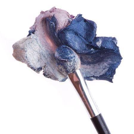 cream eyeshadow with brush isolated on white background Stock Photo - 12631535