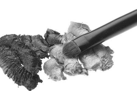 cream eyeshadows with brush isolated on white background Stock Photo - 12631543