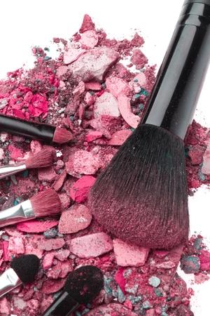 crushed eyeshadows with set of brushes isolated on white background Stock Photo - 12650703