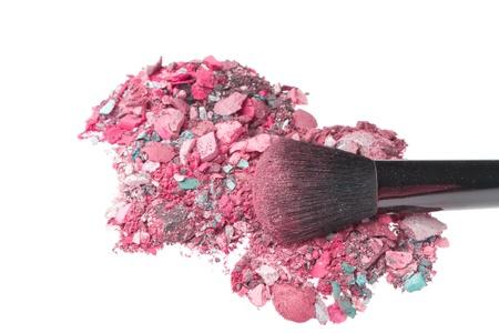 mixed eyeshadows with brush isolated on white background Stock Photo - 12652524