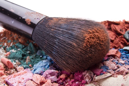 set of multicolor crushed eyeshadows with brush photo