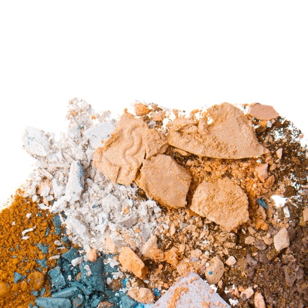 crushed eyeshadows isolated on white background photo