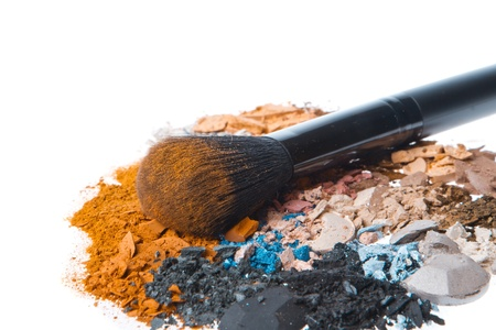 crushed eyeshadows with brush isolated on white background Stock Photo - 12876397