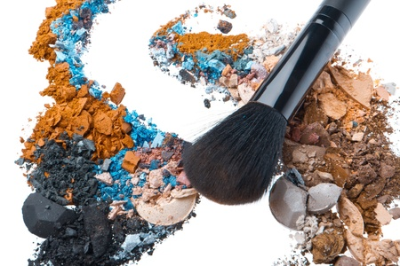 crushed eyeshadows mixed with brush isolated on white background Stock Photo - 13003269