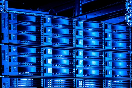 detail of data center with hard drives Stock Photo - 13003218