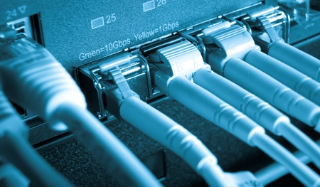 optic fiber cables connected to data center Stock Photo - 13003383