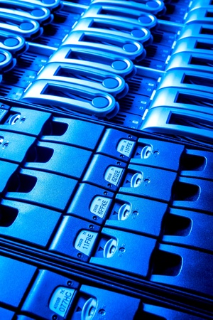 detail of data center with hard drives Stock Photo - 13003219