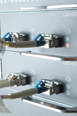 optic fiber cables connected to data center Stock Photo - 13003342