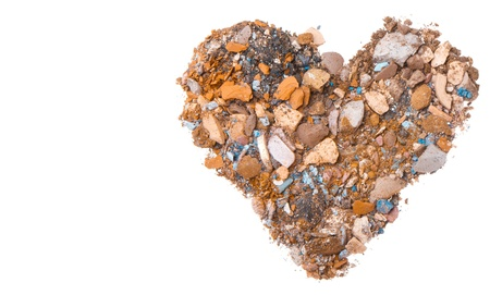 heart shaped crushed eyeshadows isolated on white background photo
