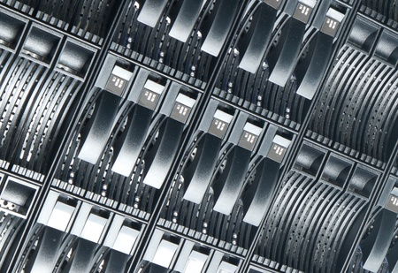 detail of data center with hard drives photo