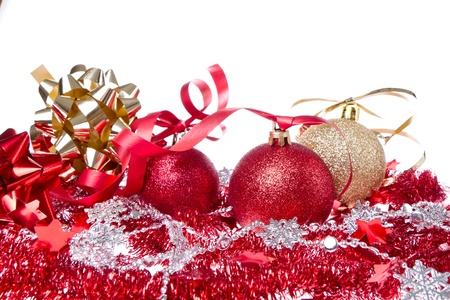 balls with ribbon and tinsel isolated on white background Stock Photo - 13003304