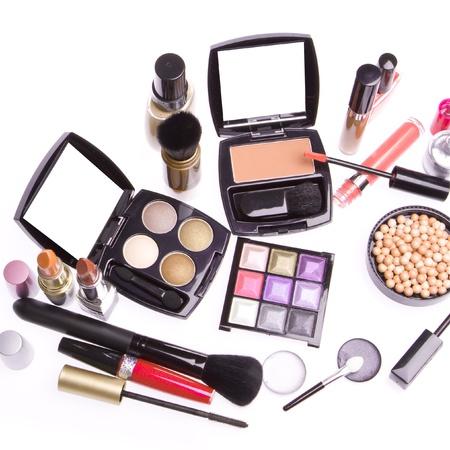 eyemakeup: makeup set isolated on white background Stock Photo