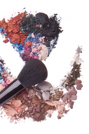 crushed eyeshadows mixed with brush isolated on white background Stock Photo - 13041708