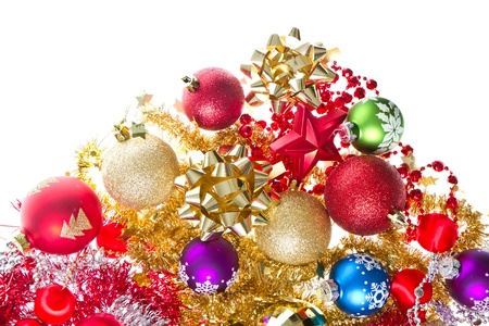 background made of christmas balls and tinsel Stock Photo - 13041784