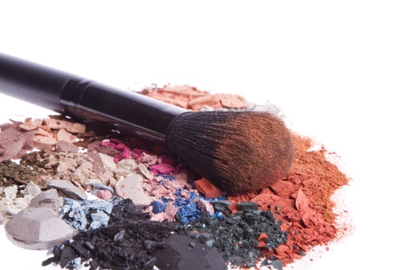 crushed eyeshadows with brush isolated on white background Stock Photo - 13041700