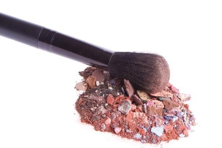 mixed eyeshadows with brush isolated on white background Stock Photo - 13041674