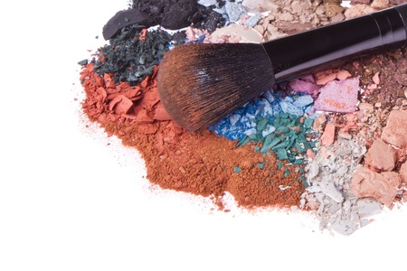 crushed eyeshadows with brush isolated on white background Stock Photo - 13041731