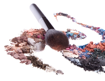 crushed eyeshadows mixed with brush isolated on white background Stock Photo - 13041687