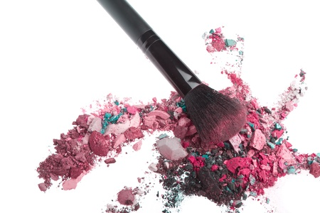 crushed eyeshadows mixed with brush isolated on white background Stock Photo - 13041698