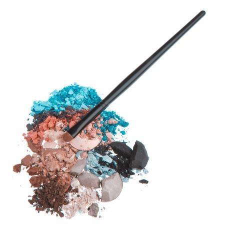 set of multicolor crushed eyeshadows isolated on white background Stock Photo - 13041657