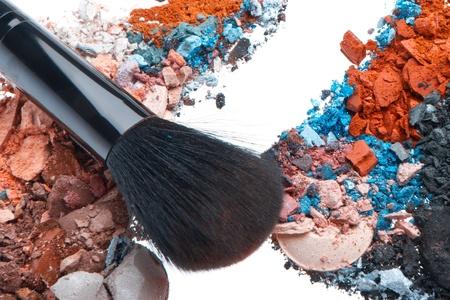 crushed eyeshadows mixed with brush isolated on white background Stock Photo - 13098730