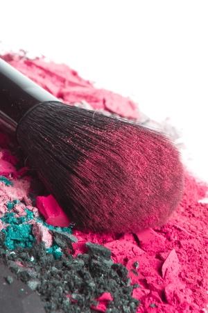 crushed eyeshadows with brush isolated on white background Stock Photo - 13098234