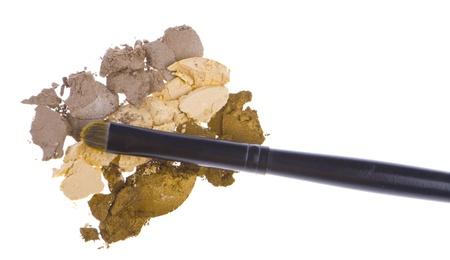 cream eyeshadows with brush isolated on white background Stock Photo - 13097860