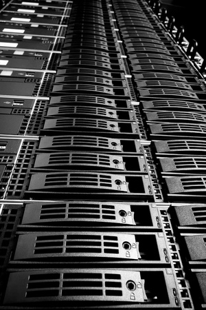 Data center with hard drives photo
