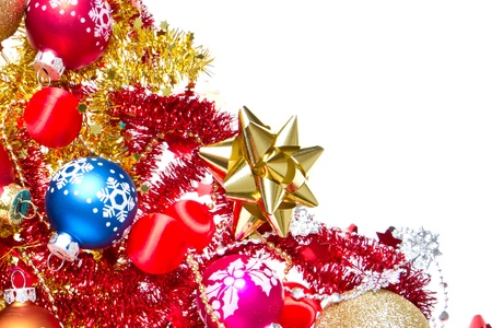 background made of christmas balls and tinsel Stock Photo - 13150411