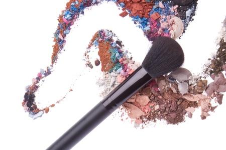 crushed eyeshadows mixed with brush isolated on white background Stock Photo - 13149479