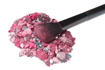 mixed eyeshadows with brush isolated on white background Stock Photo - 13140013