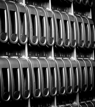 detail of data center with hard drives Stock Photo - 13150003