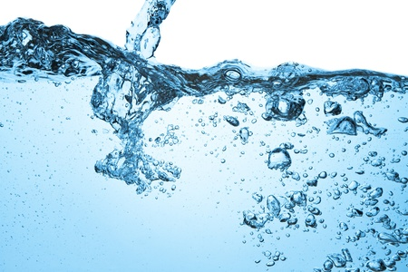 Gros plan de bulles dans l'eau bleue Banque d'images