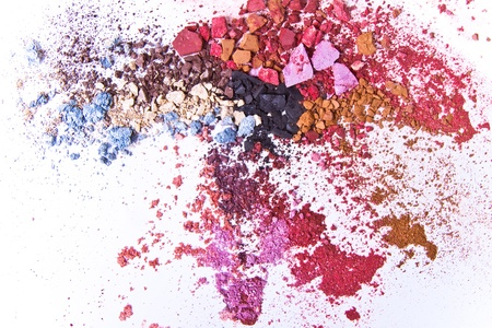 eye red: crushed eyeshadow on white background Stock Photo