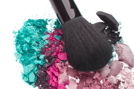 set of multicolor crushed eyeshadows isolated on white background Stock Photo - 13275126