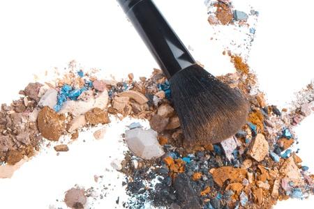 crushed eyeshadows mixed with brush isolated on white background Stock Photo - 13275083