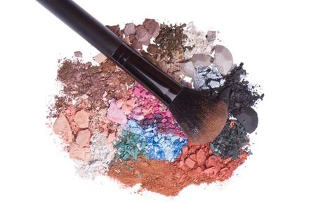 crushed eyeshadows with brush isolated on white background Stock Photo - 13646691