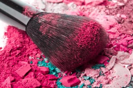 set of multicolor crushed eyeshadows with brush photo