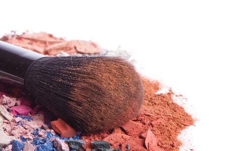 crushed eyeshadows with brush isolated on white background Stock Photo - 13646695