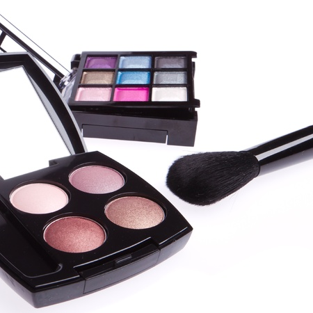 set of compact eyeshadows isolated on white Stock Photo - 13729873