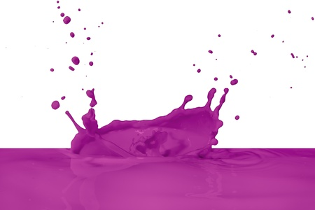 violet paint splashing isolated on white photo
