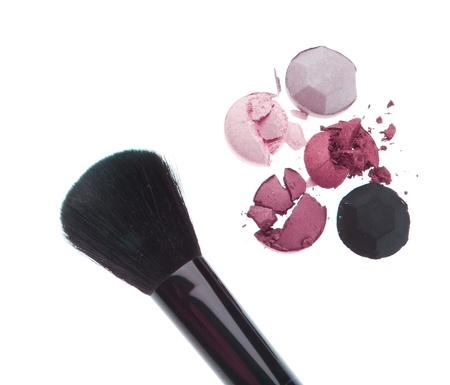 multicolored crushed eyeshadows with brush isolated on white background Stock Photo - 13729839