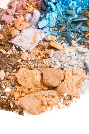 multicolor crushed eyeshadows isolated on white background photo