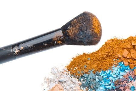 crushed eyeshadows with brush isolated on white background Stock Photo - 13730250