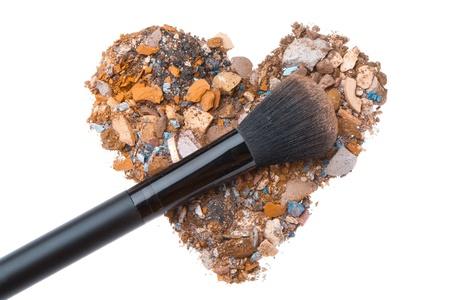 heart shaped crushed eyeshadows with brush Stock Photo - 13789236