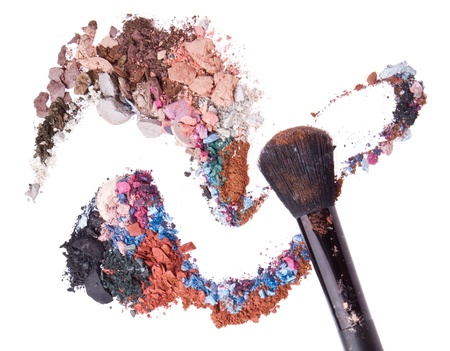crushed eyeshadows mixed with brush isolated on white background Stock Photo - 13789239