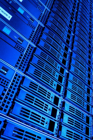 support center: Data center with hard drives