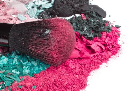 crushed eyeshadows with brush isolated on white background Stock Photo - 13789280
